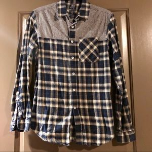 JackThreads Flannel Shirt With Chambray Accents